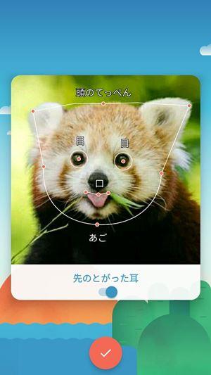 写真に合わせて目、鼻、耳、あたまのてっぺん、あご、口の位置を指定します