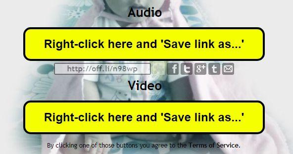 音声ファイルと動画ファイルがダウンロード可能。右クリックしてファイルに保存する必要あり